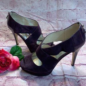 Michael Kors Womens Sz 8.5 Purple Peep Toe Heels